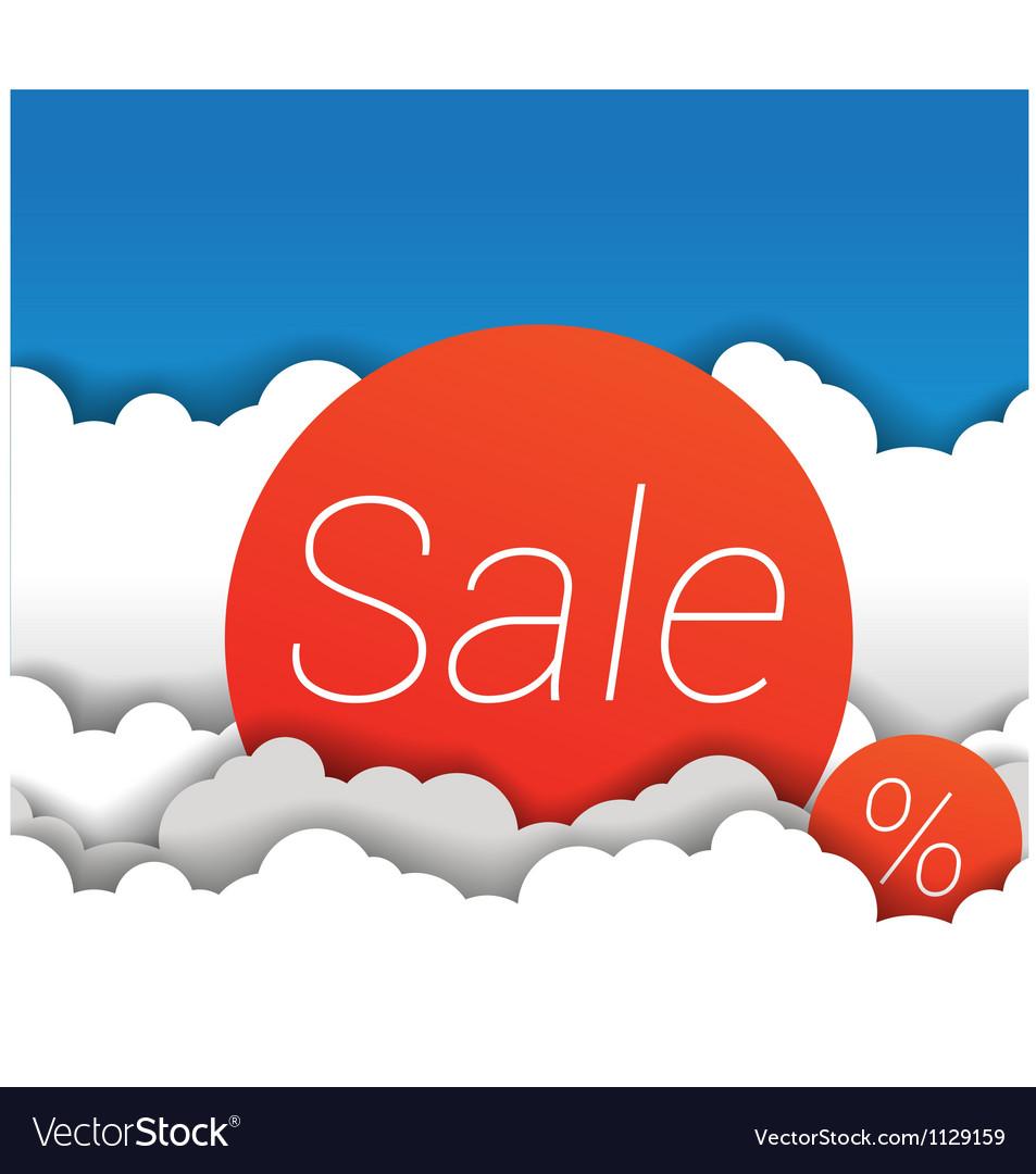 Sale sign in clouds