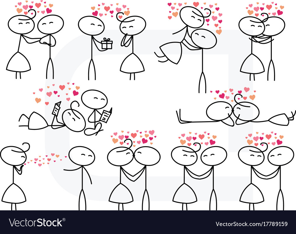 Stick figure people love wedding couple valentine