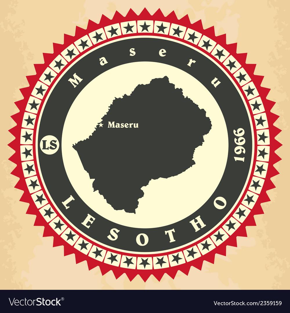 Vintage label-sticker cards of Lesotho vector image