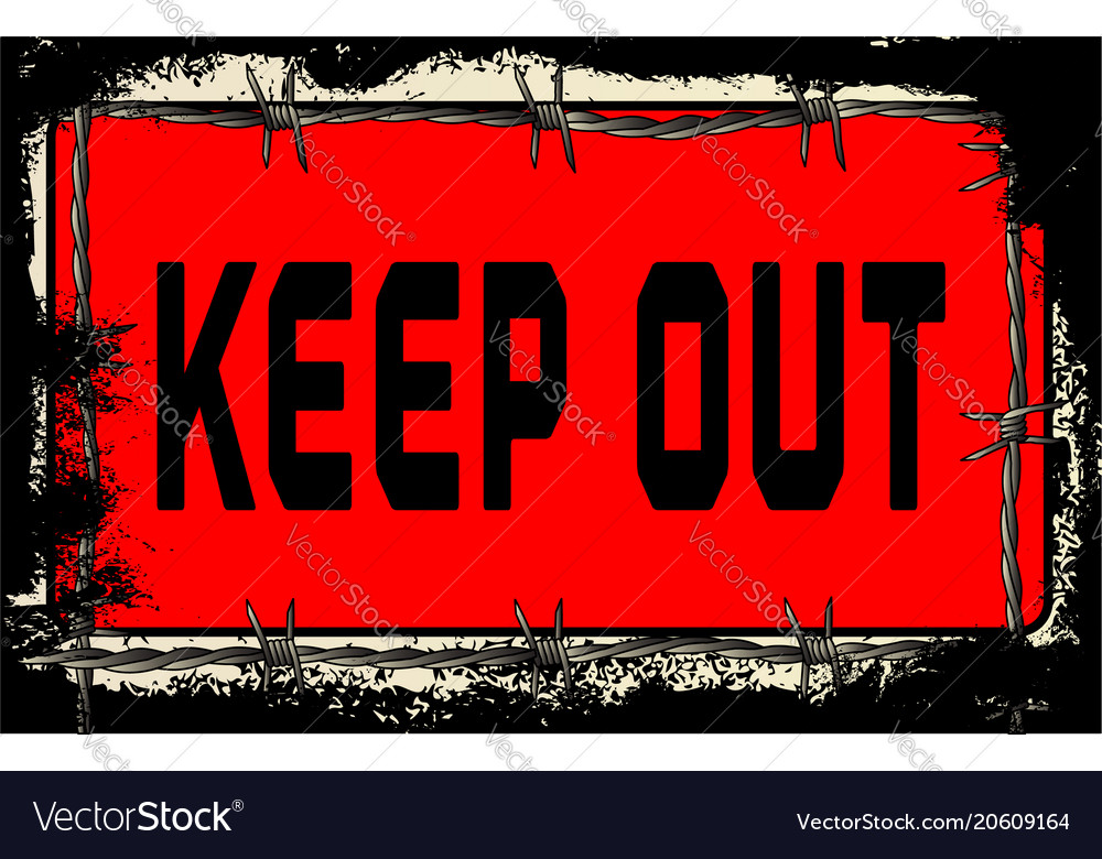 Barbed wire keep out vector image