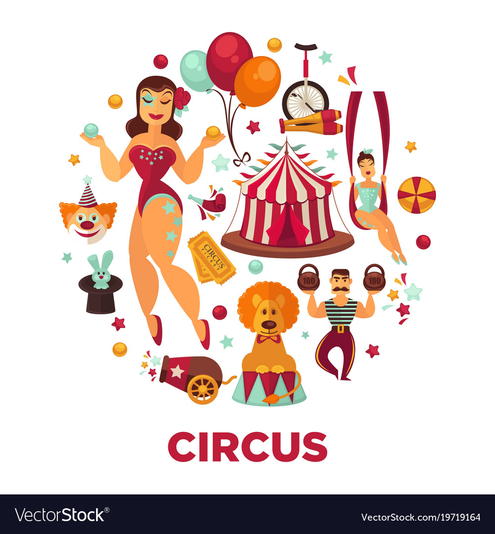 Circus show performance elements and accessories