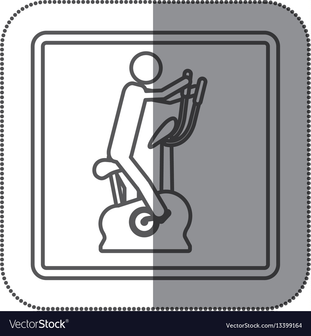 Figure person exercising on a machine icon vector image
