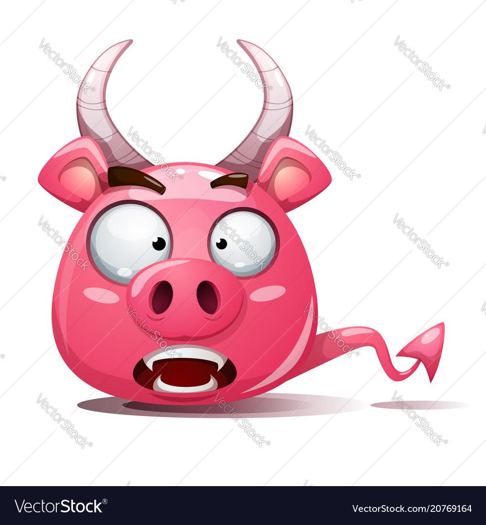 Funny cute crazy pig icon devil smiley symbol