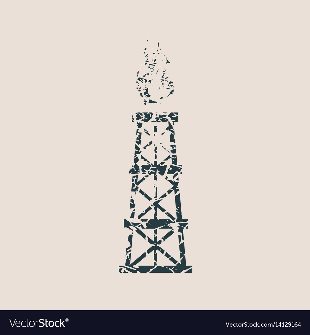 Gas tower icon grunge style vector image