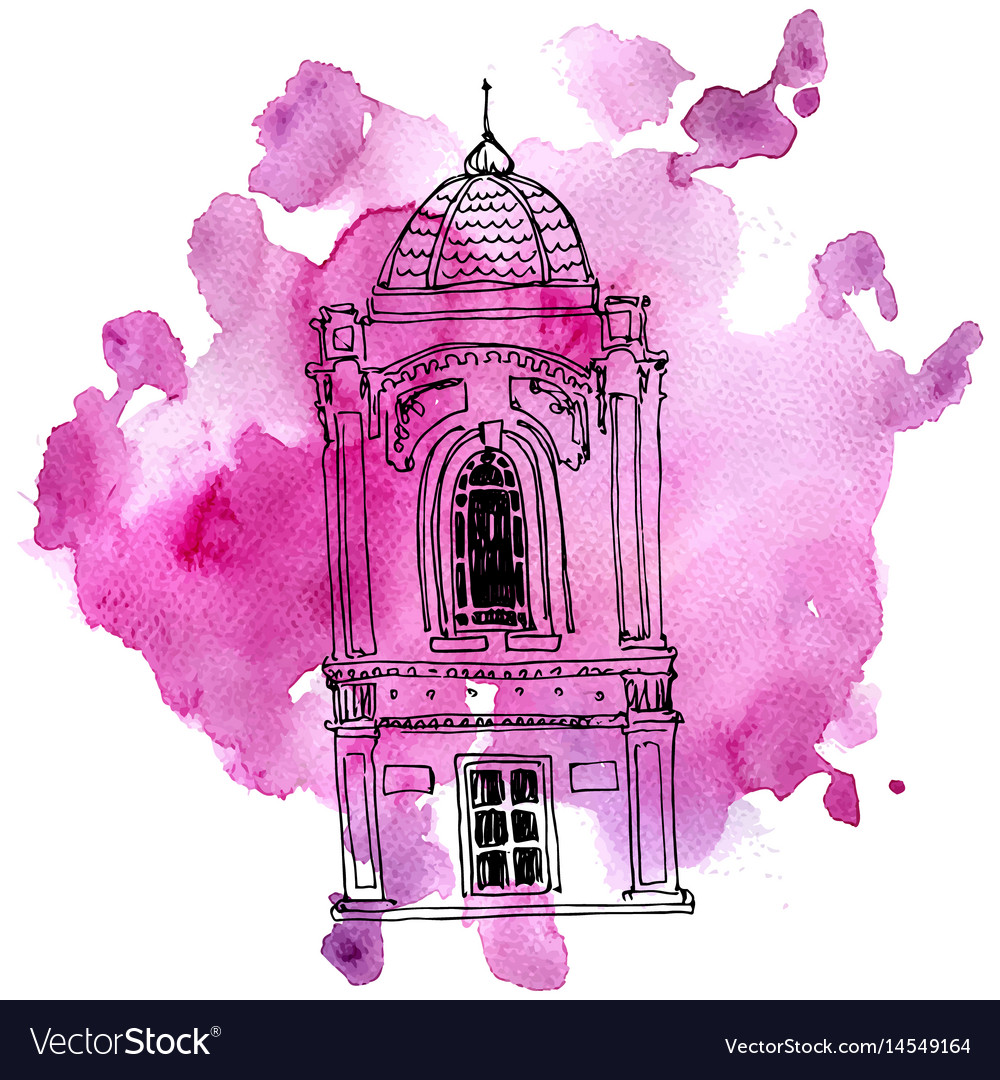 House at watercolor background Royalty Free Vector Image