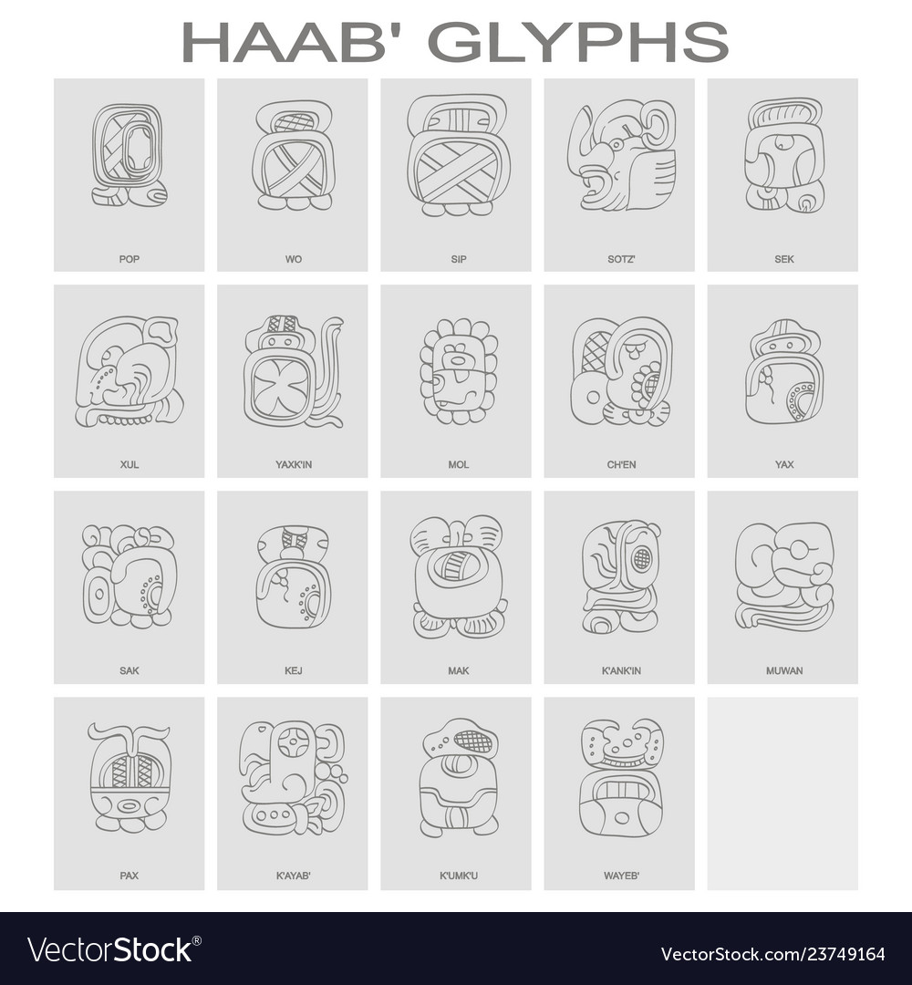 Icon set with haab maya calendar