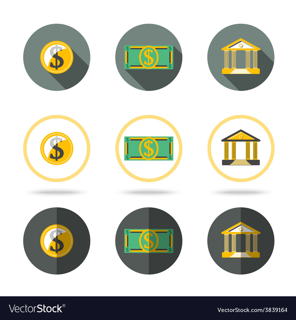 Money and banking icons set In different flat