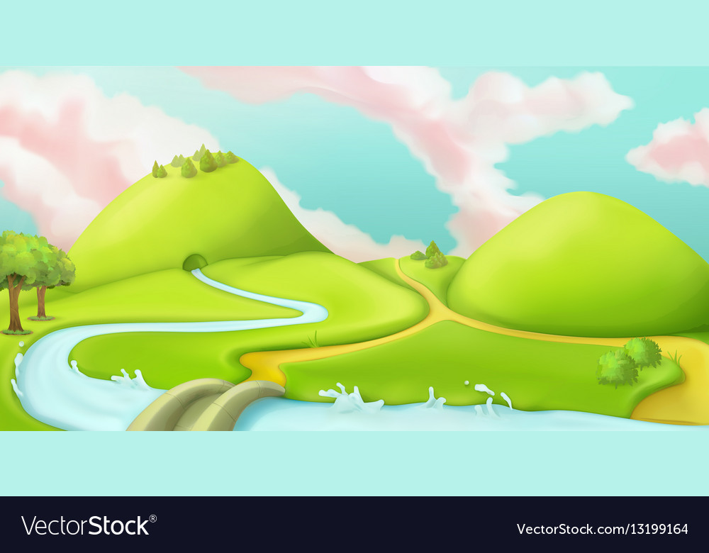 Nature landscape cartoon game background graphic