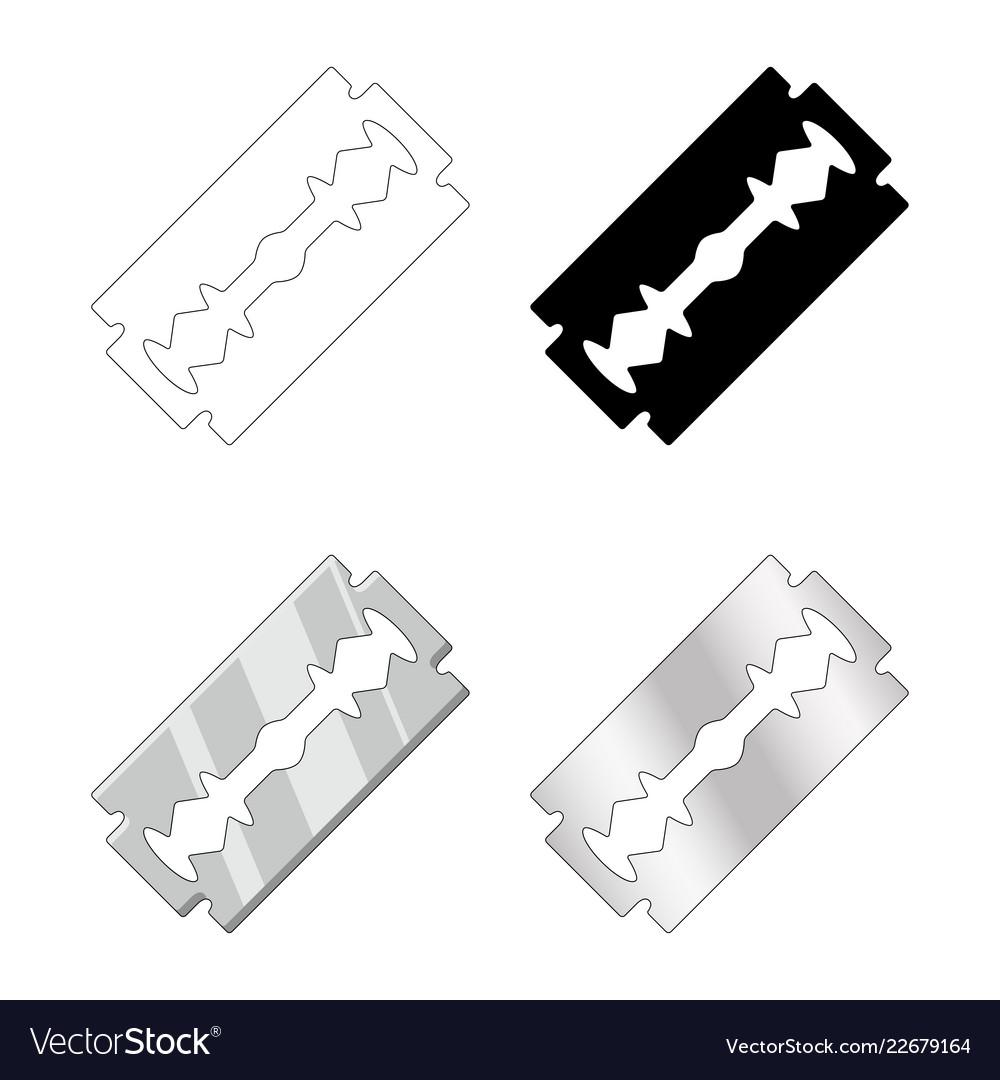 Razor blade set design isolated on white