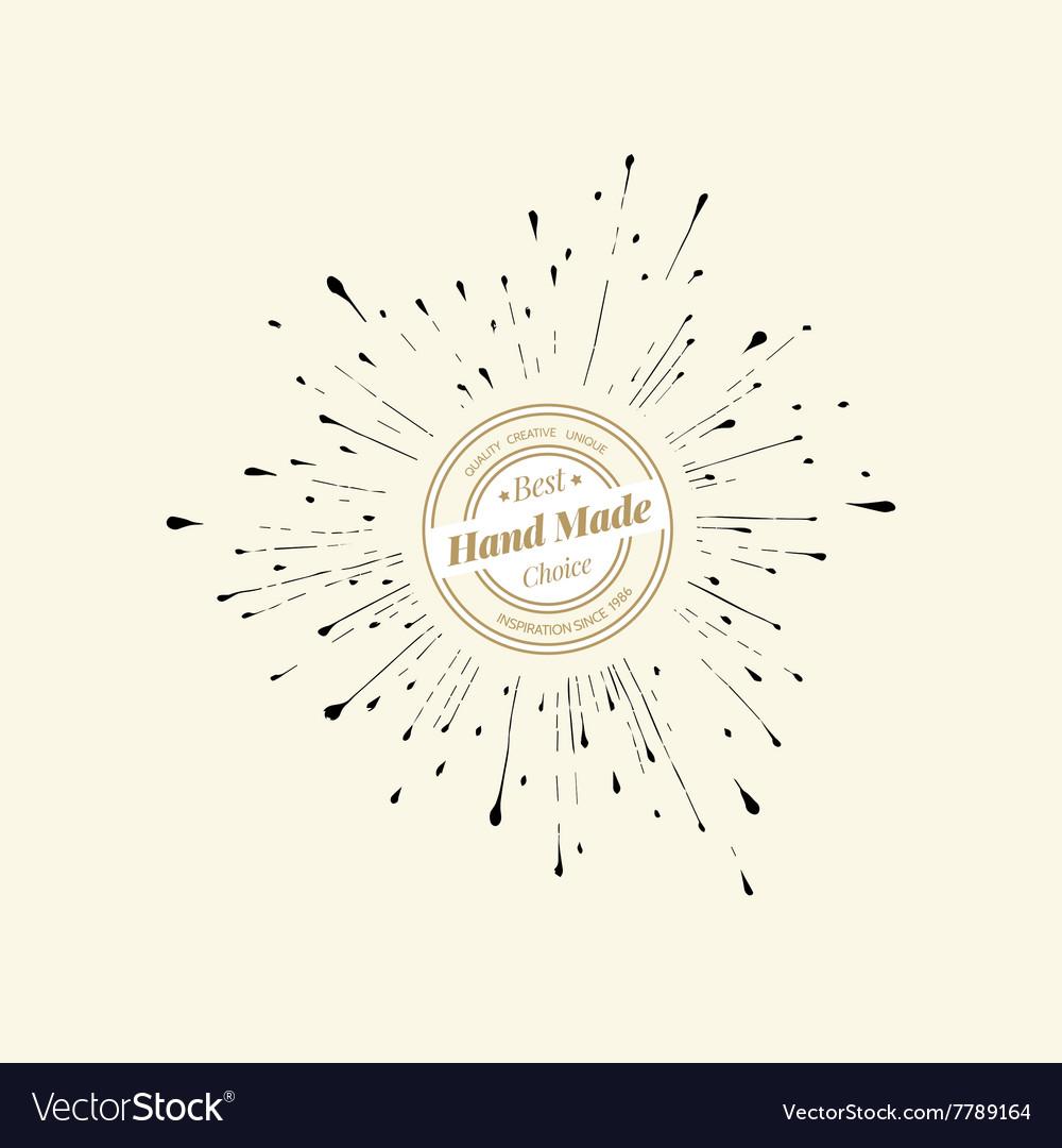Set of hand drawn badges sunburst icon vector image