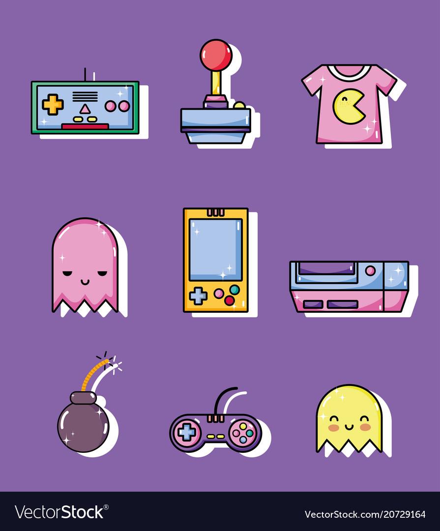 Set of retro videogames cartoons