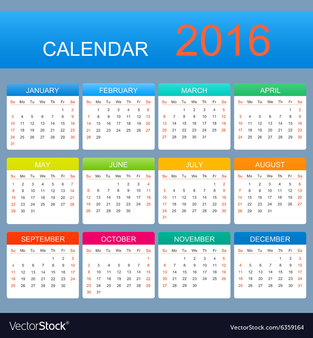Template Calendar 2016 Years Week Starts