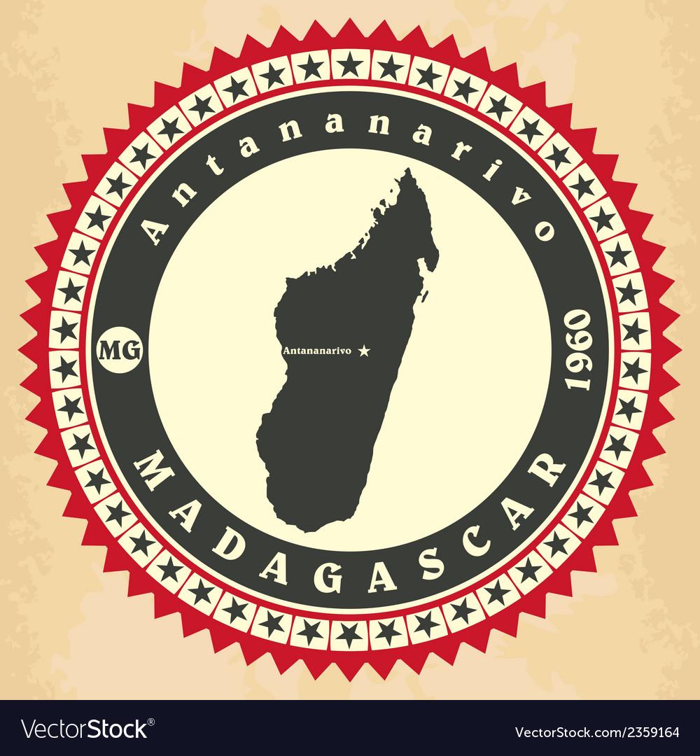 Vintage label-sticker cards of Madagascar