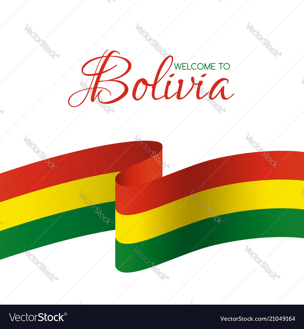 Welcome to bolivia card with flag of bolivia