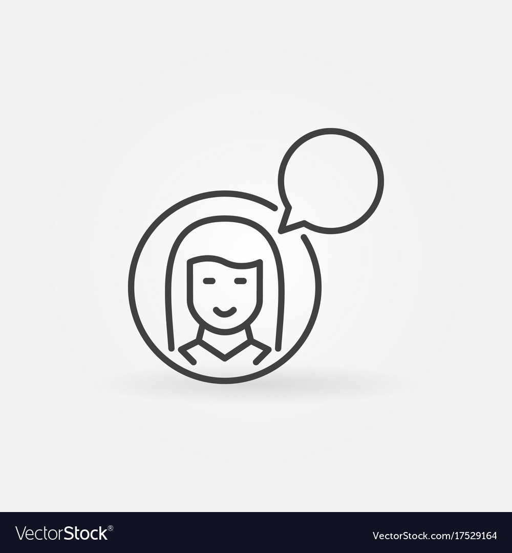 Woman with speech bubble icon talking or