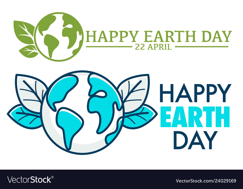22 april happy earth day logo or greeting card