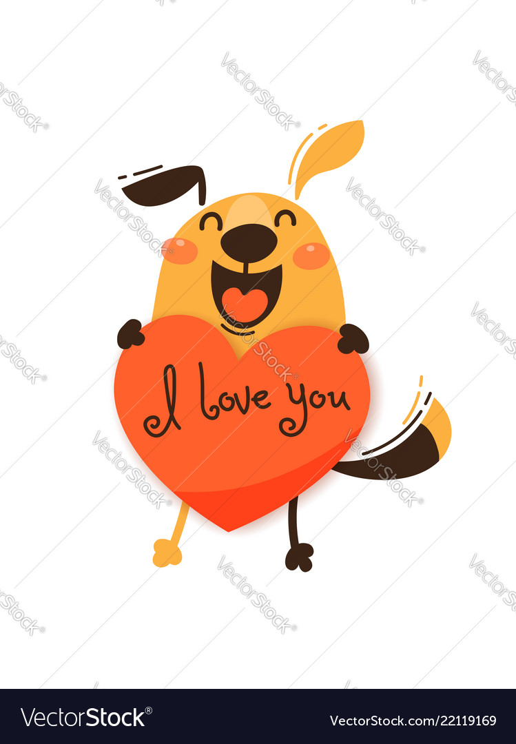 A happy dog with a valentine and message i love