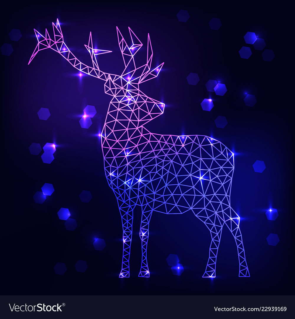 Abstract polygonal deer on dark blue background