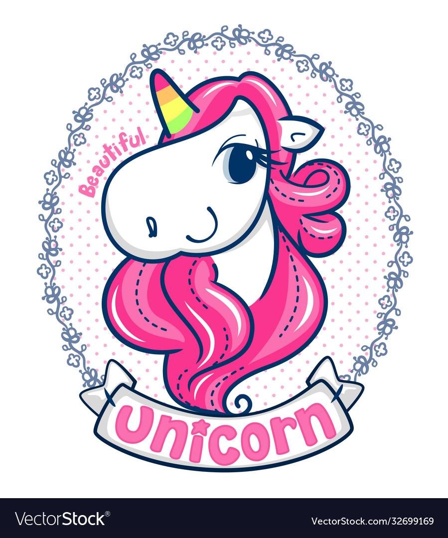 Beautiful unicorn girl on flower frame
