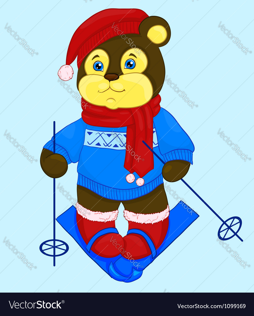 cartoon bear in a cap and a sweater ski royalty free vector