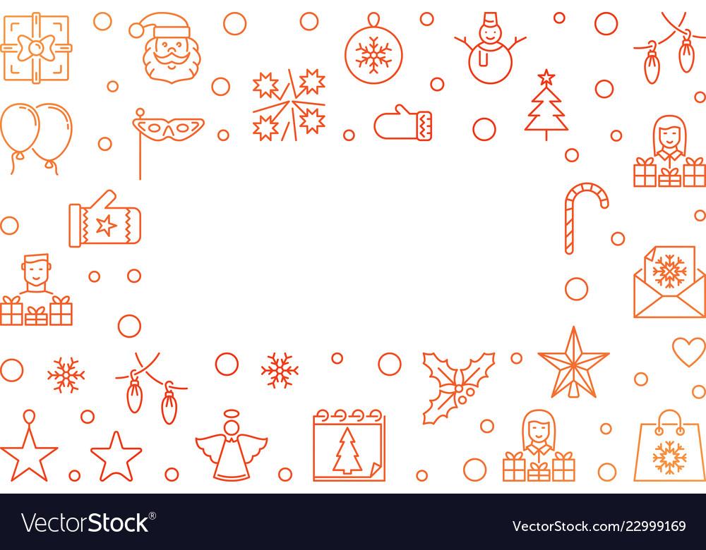 Christmas horizontal outline creative frame