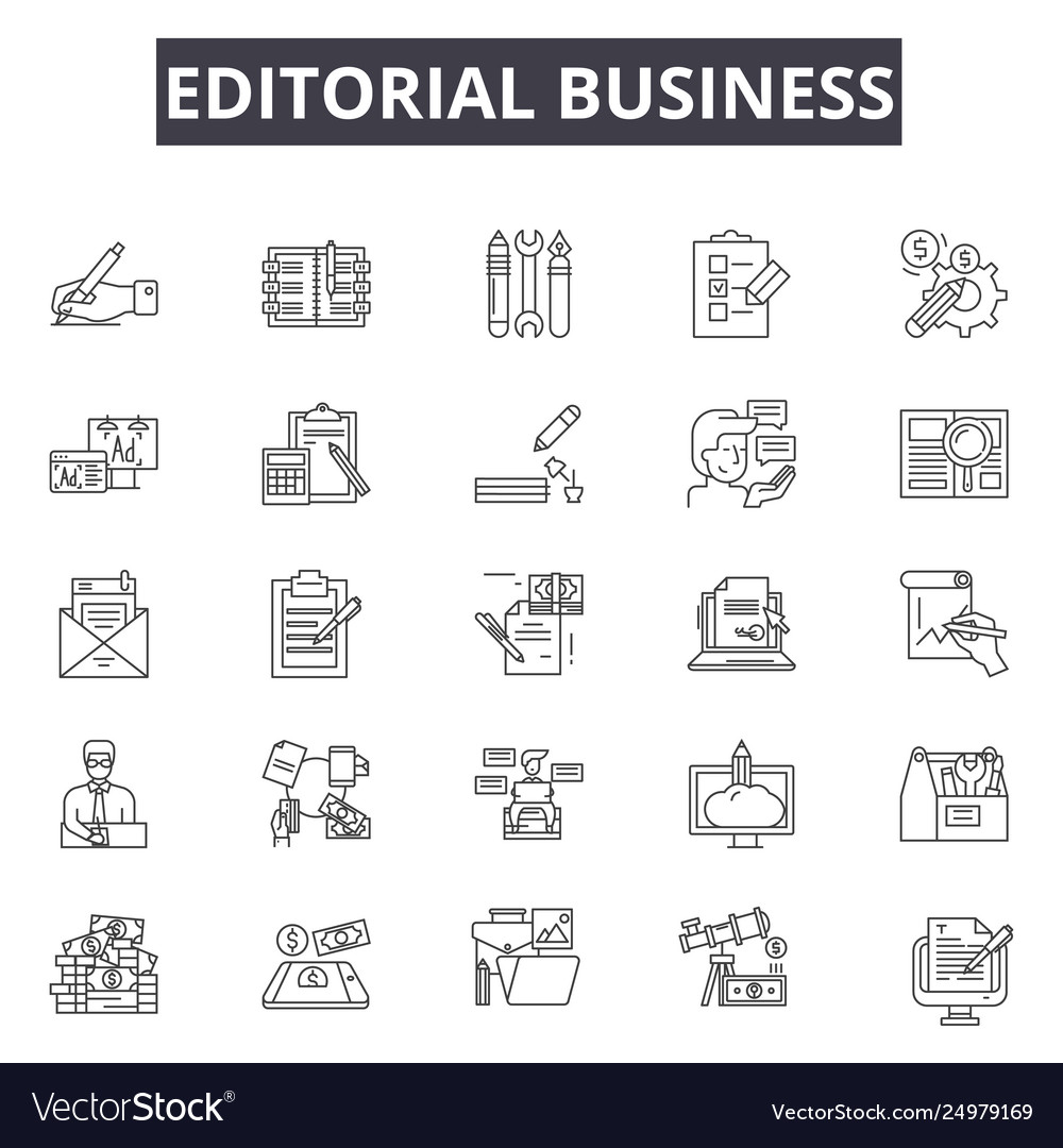 Editorial business line icons signs set