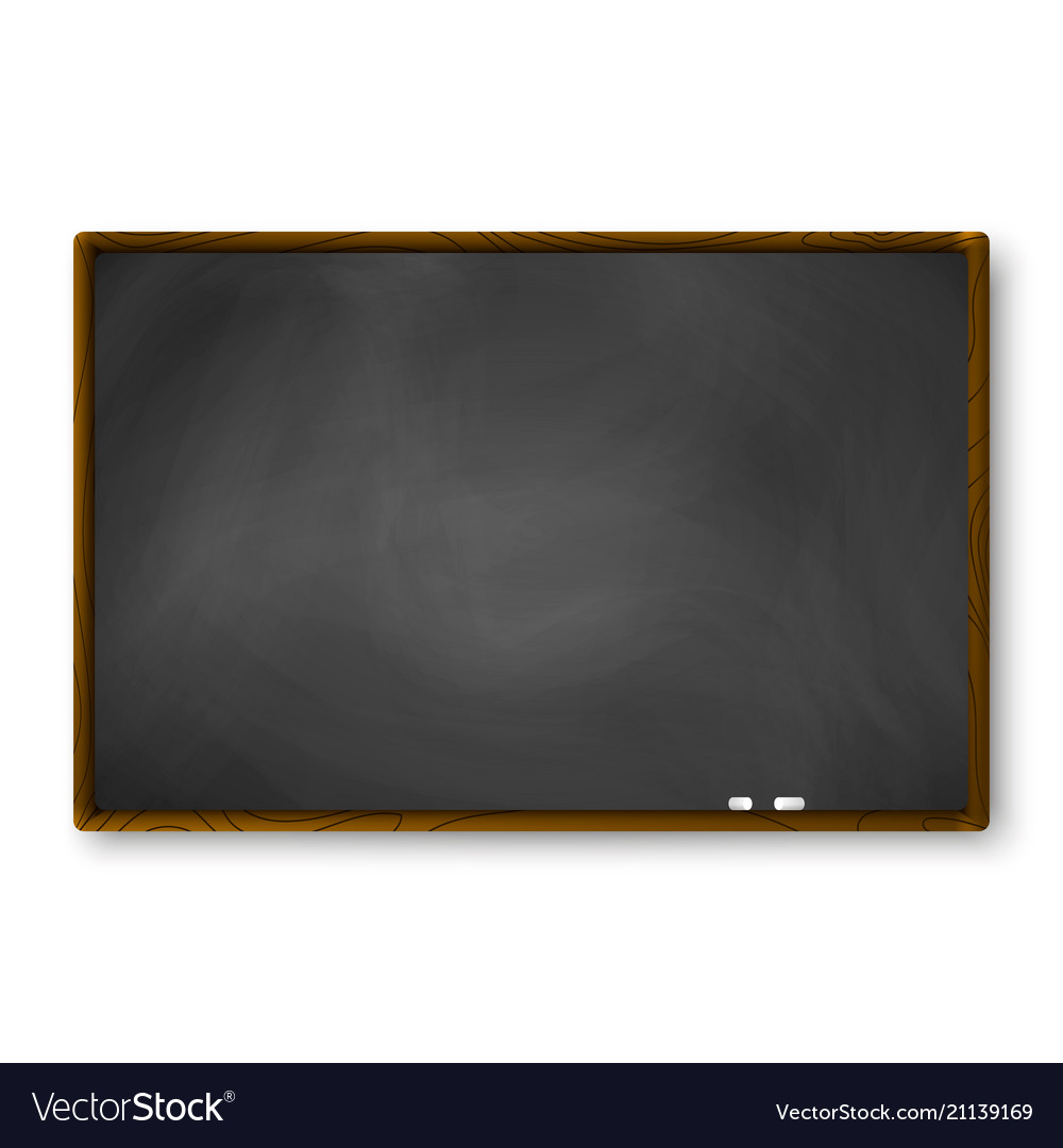 Empty blackboard with wooden frame and piece of Vector Image