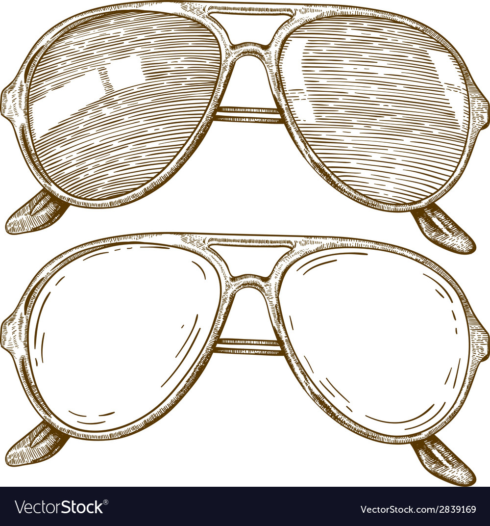 Engraving sunglasses vector image