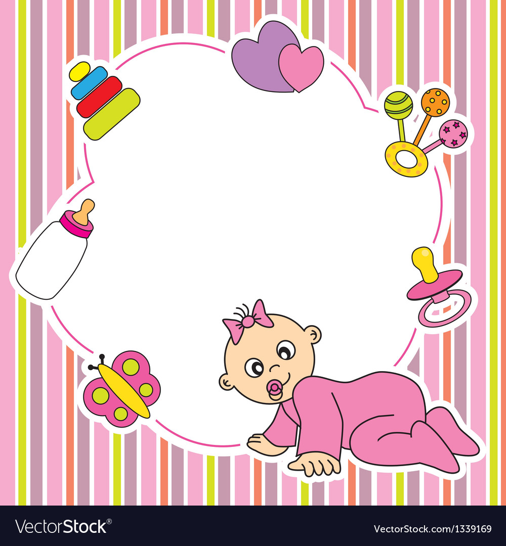 Frame baby girl Royalty Free Vector Image - VectorStock