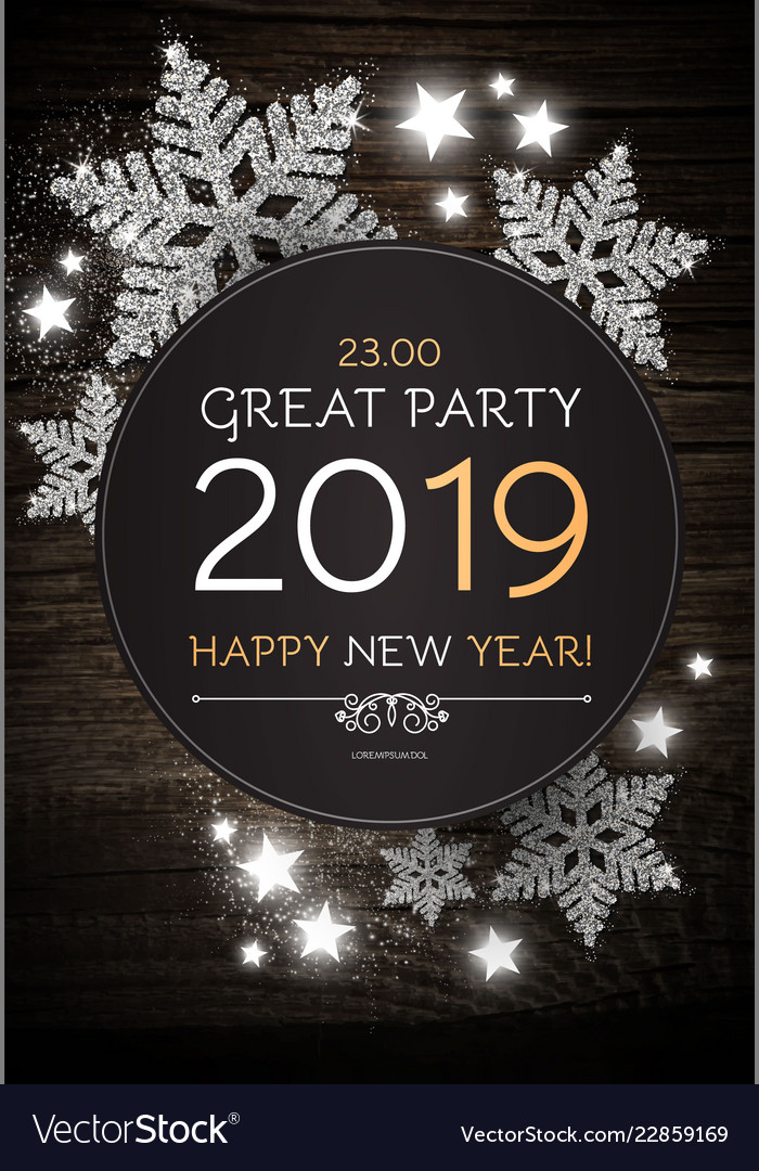 Hapy new 2019 year poster template with shining