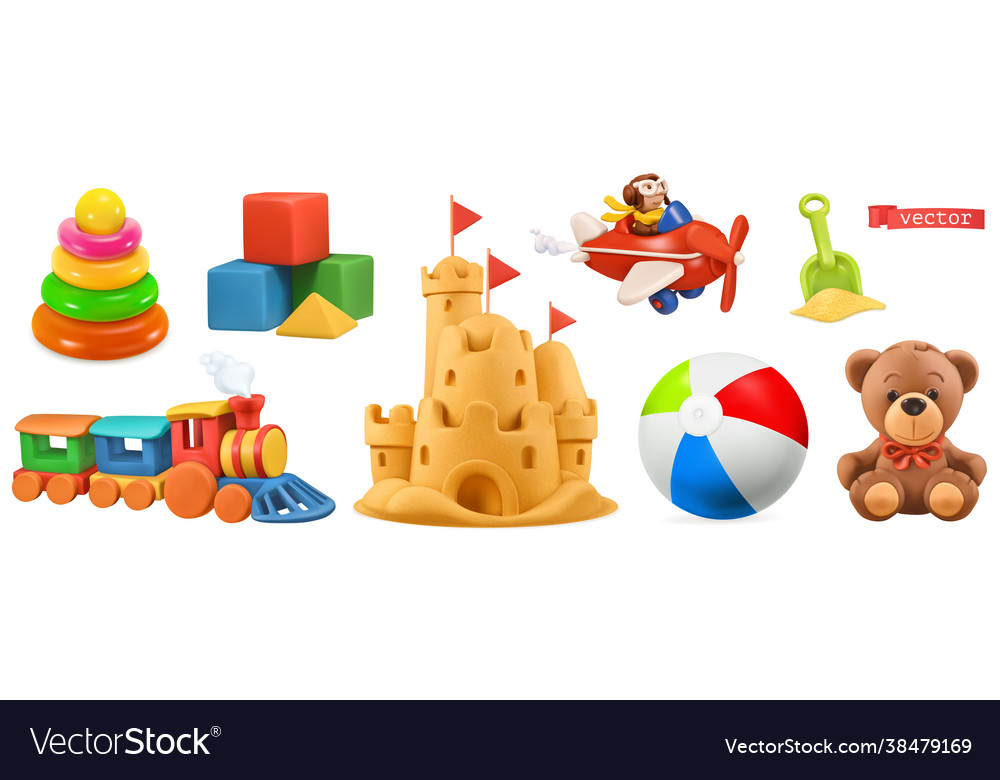 Kids toys train plane castle ball cubes bear 3d