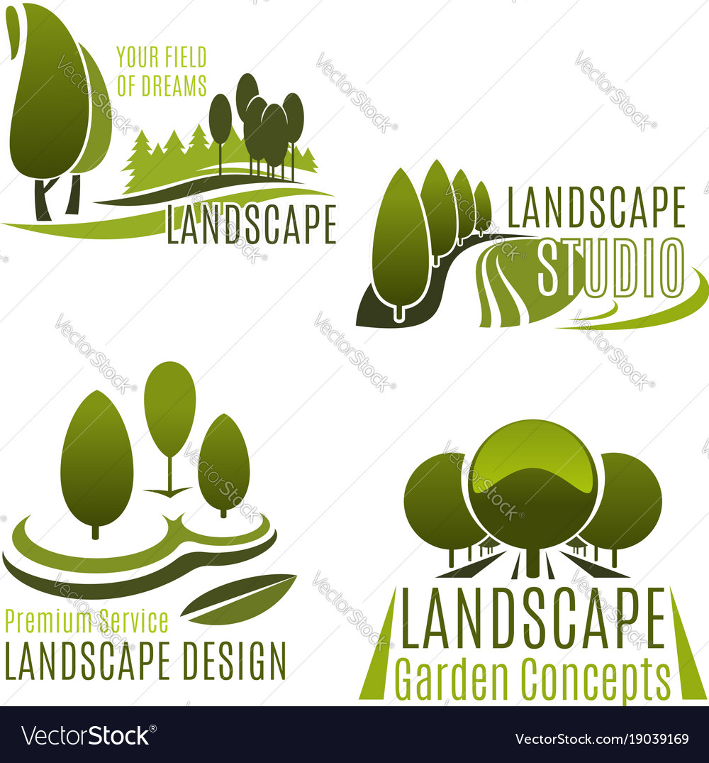 Landscaping company and gardening service icon