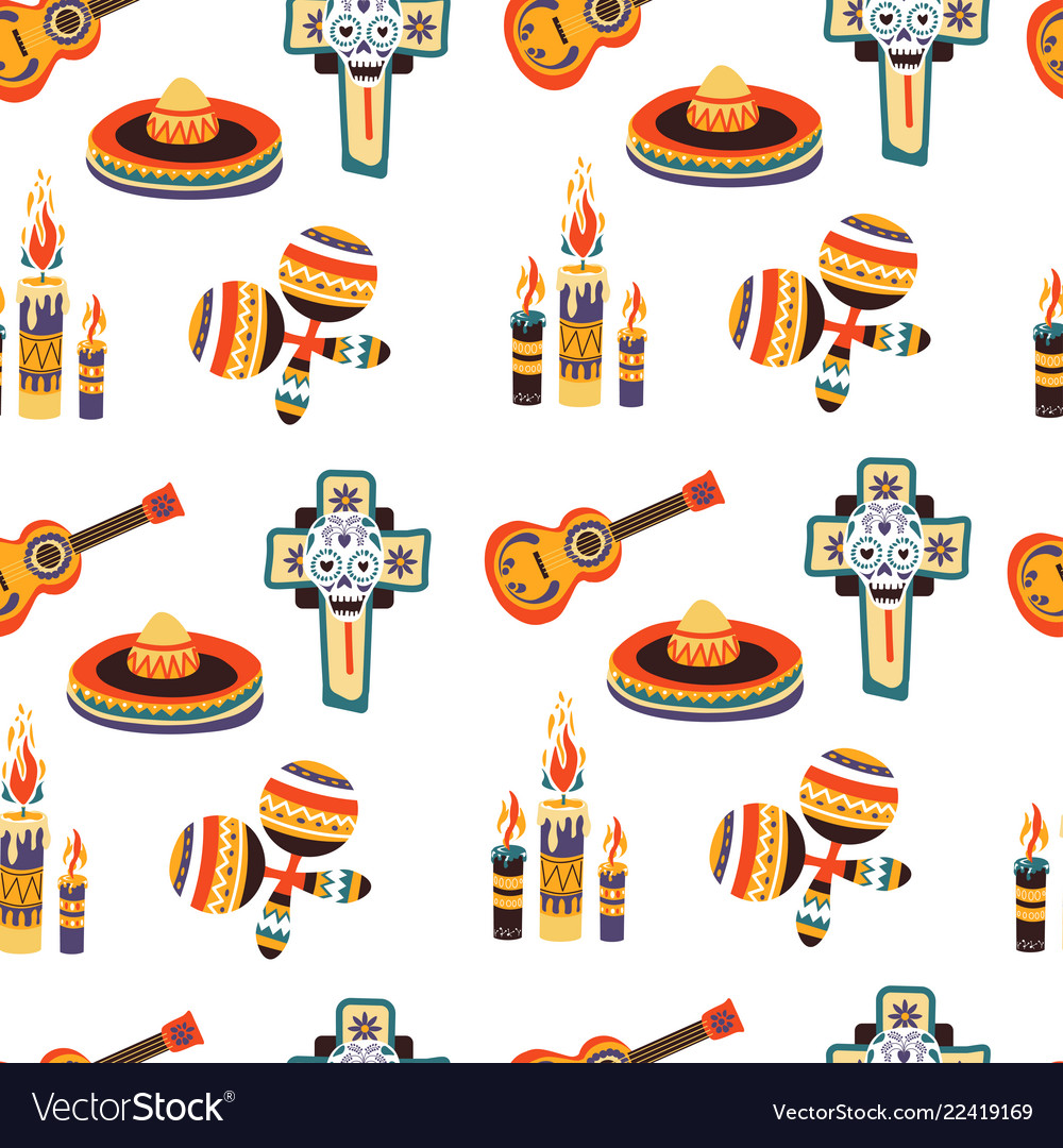 Mexico seamless pattern with candles sombrero and