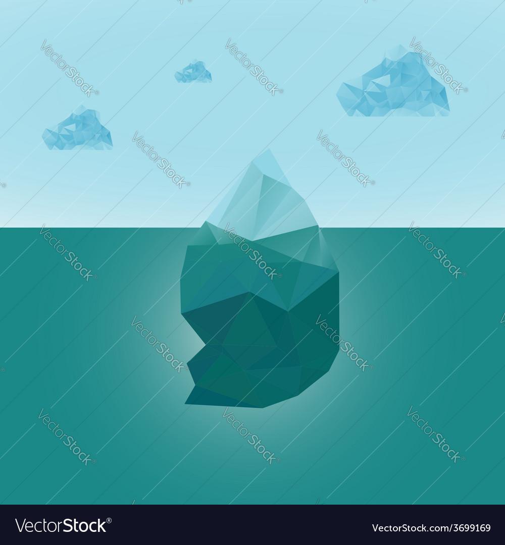 Polygonal iceberg glacier landscape with clouds