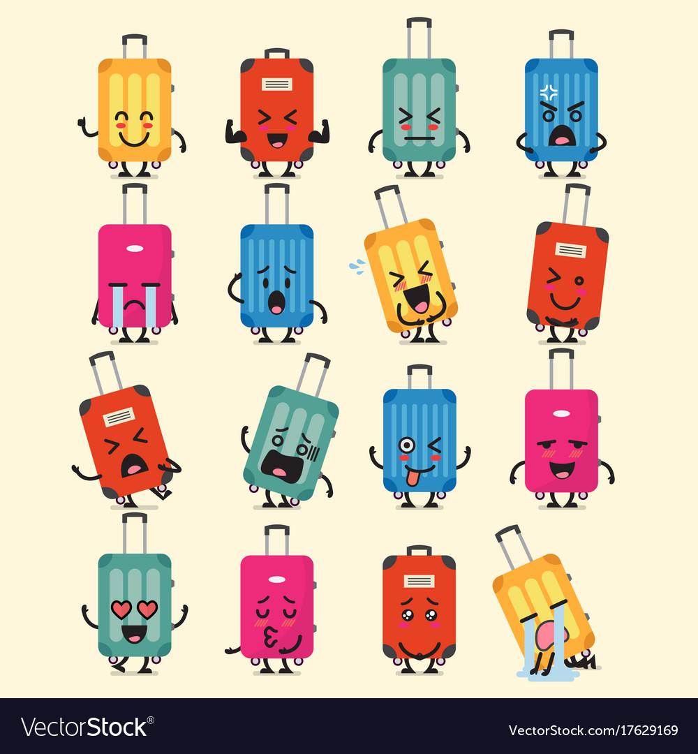 Travel luggage character emoji set