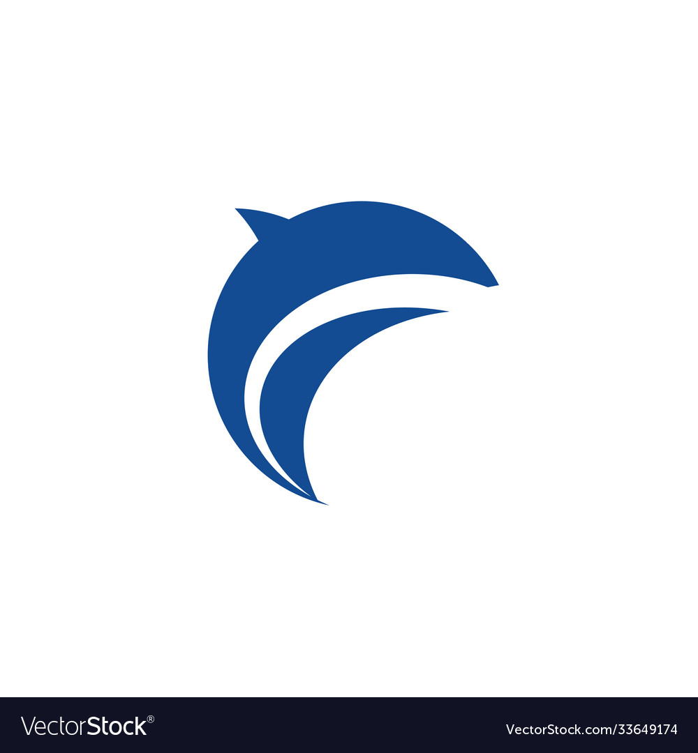 Abstract dolphin silhouette blue icon logo