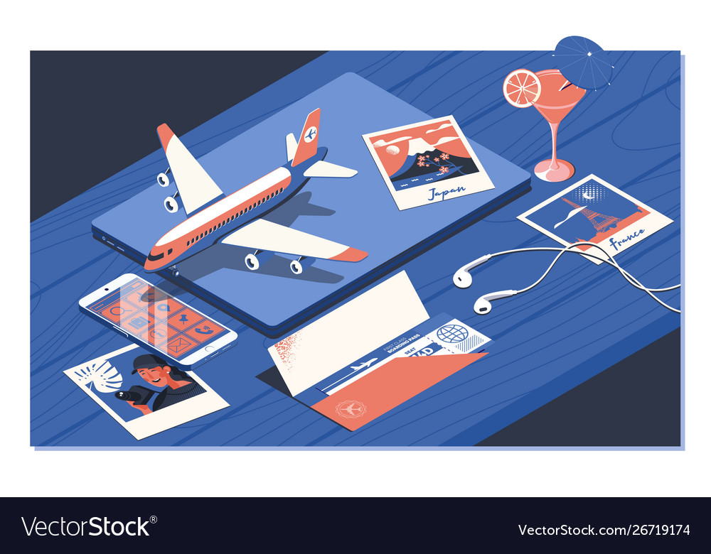 Air ticket flight booking concept isometric