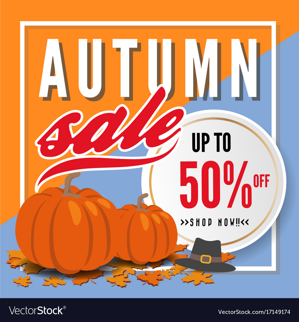 Autumn sale banner background template design