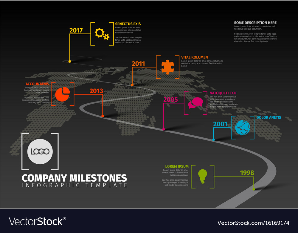 Company Milestones Timeline Template Royalty Free Vector