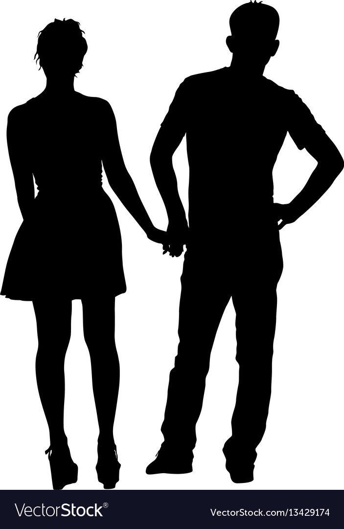 Couples man and woman silhouettes on a white
