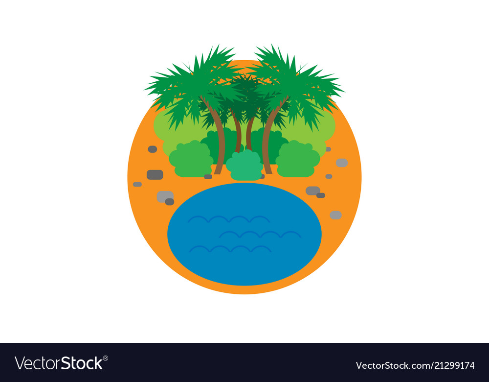 Icon with beach and palm trees