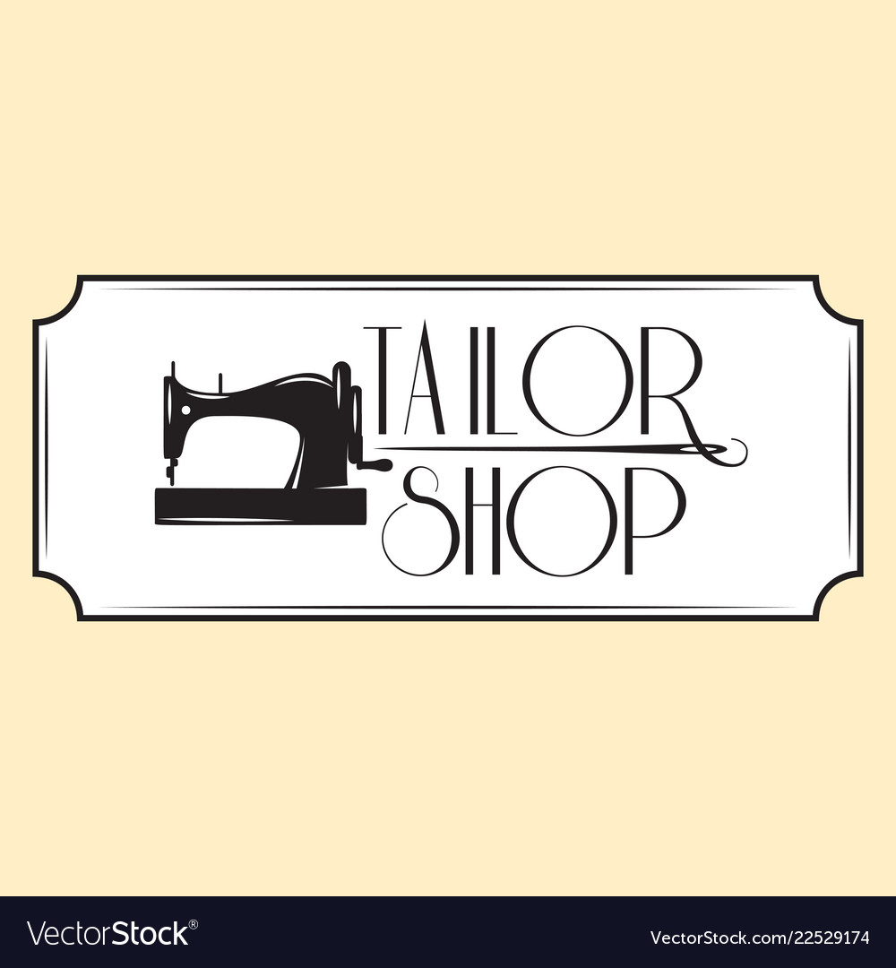 Retro style emblem with sewing machine
