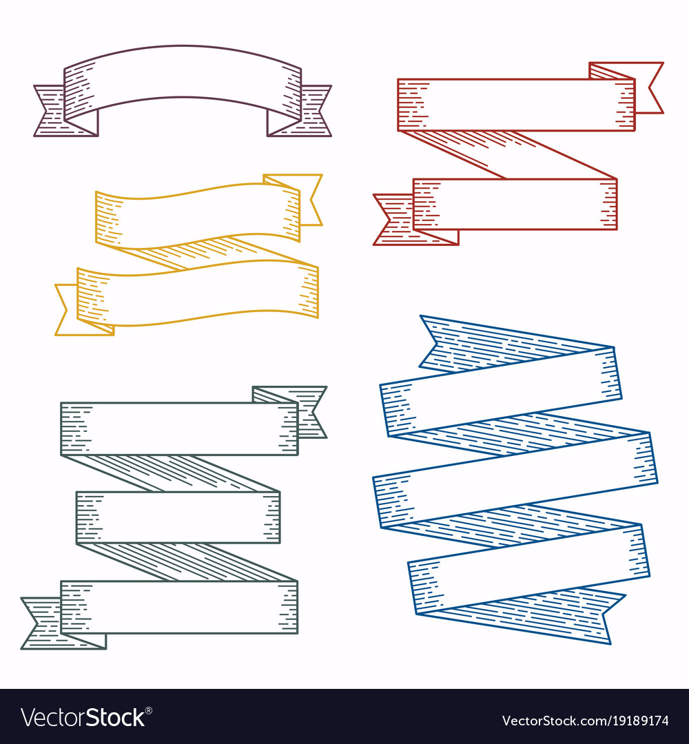 Set design elements banners ribbons