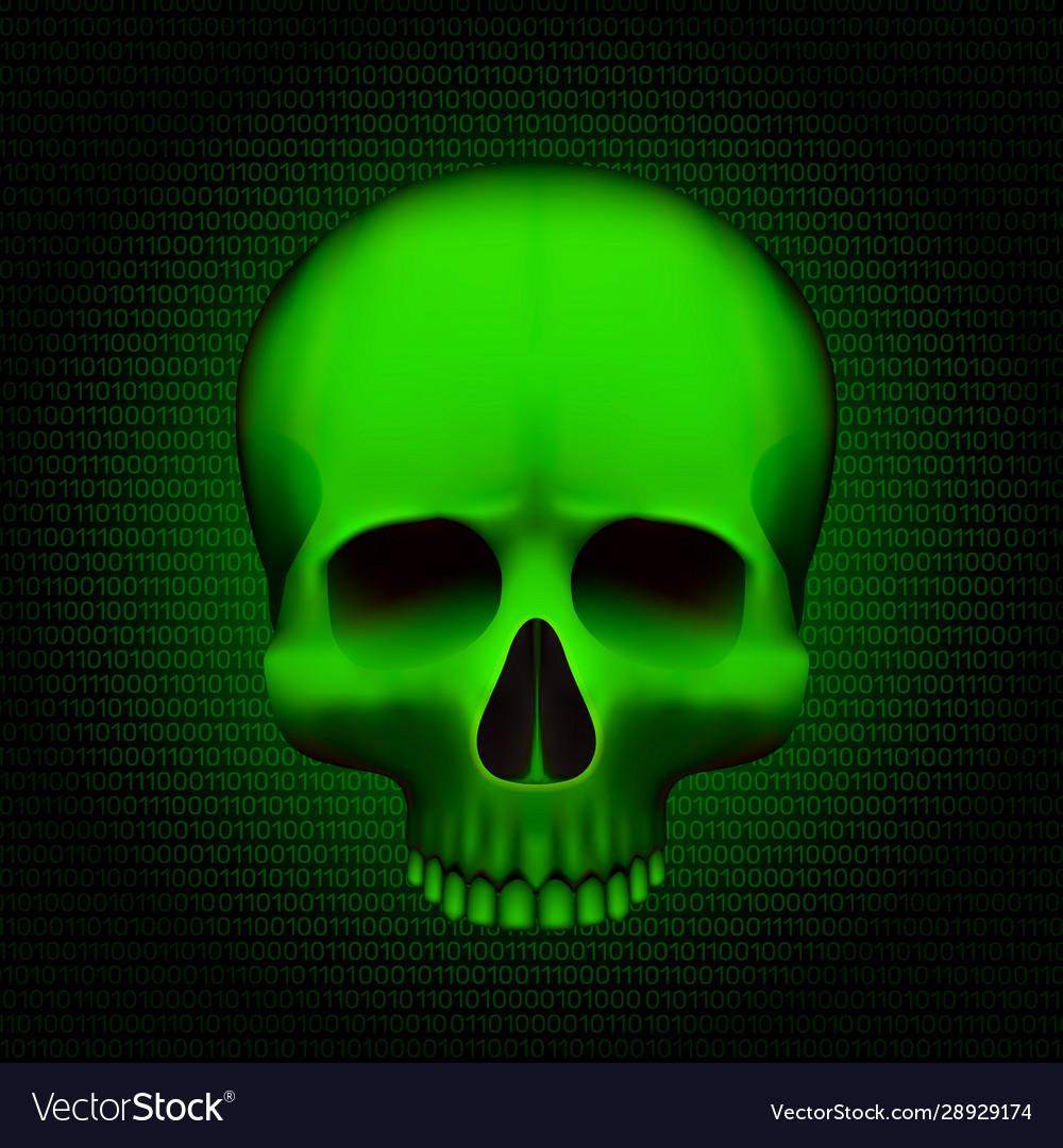 Skull is a program virus on digital background