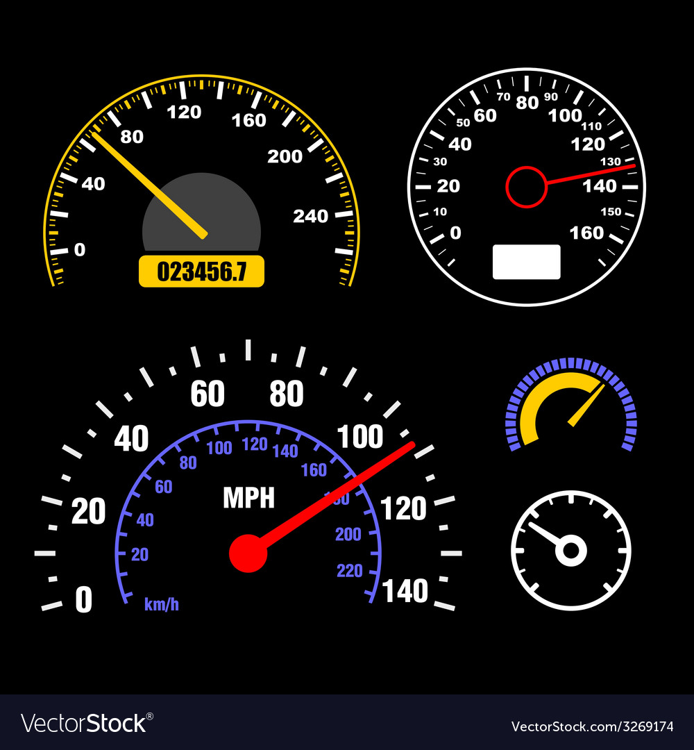 Speedometers Set on Black Background