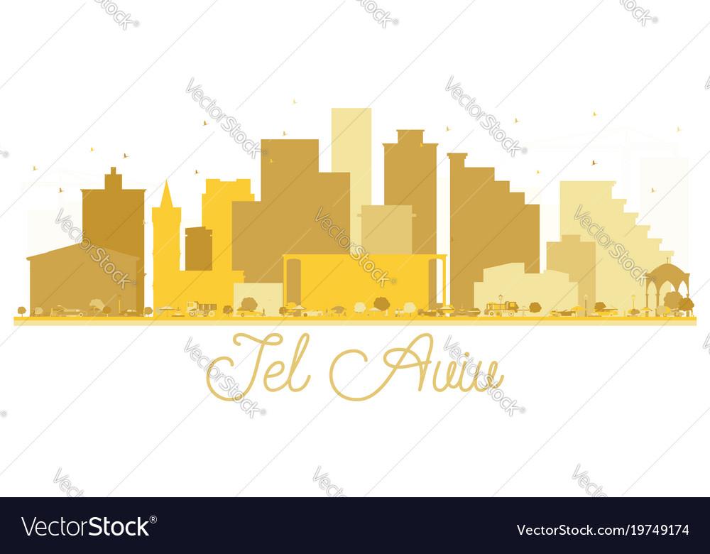 Tel aviv israel city skyline golden silhouette vector image