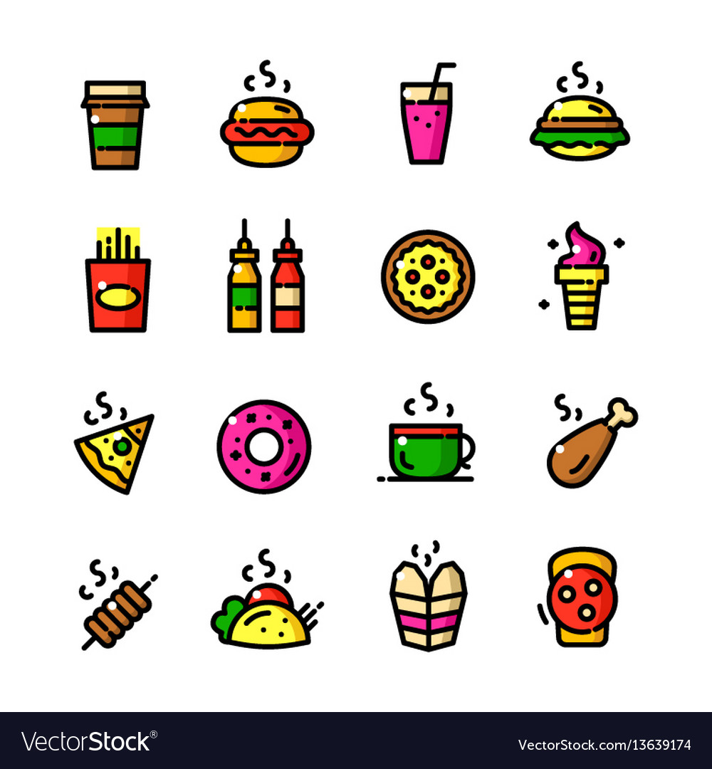 Thin line fast food icons set vector image