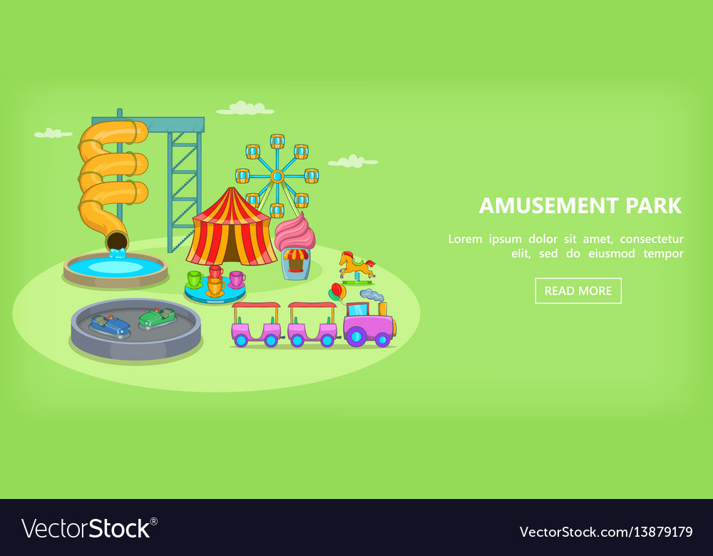 Amusement games horizontal banner cartoon style vector image
