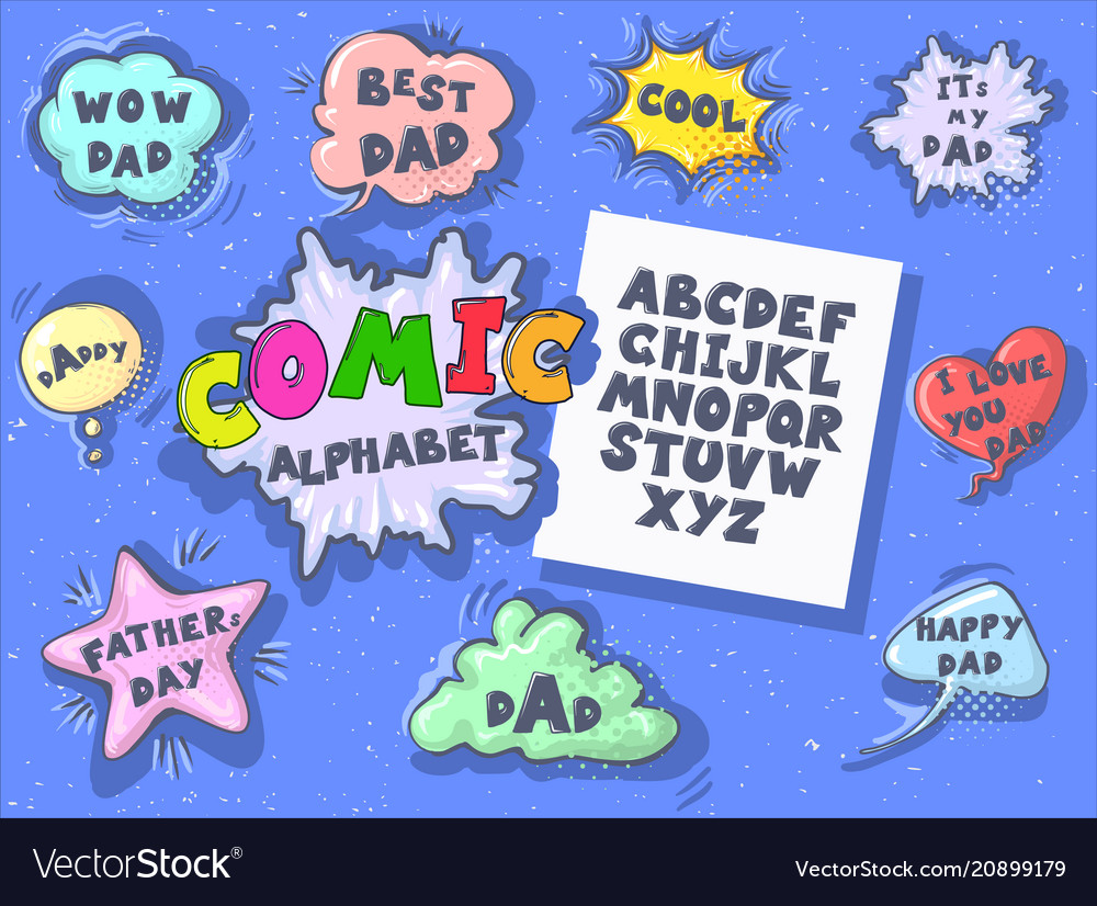 Comic cartoon retro font set father s day speech