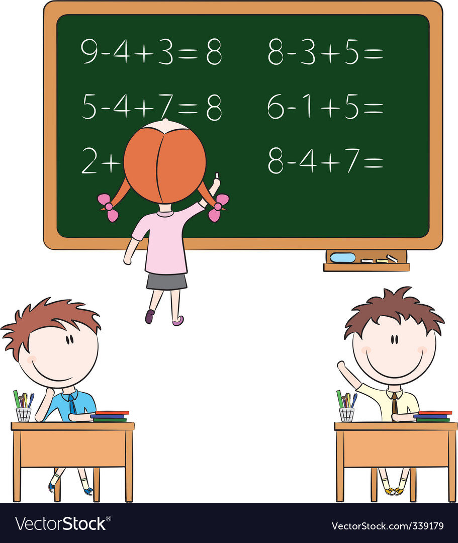 Cute kids in the classroom vector image